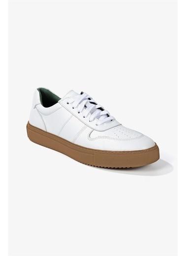 Krähe Krähe Cuervo Deri Erkek Spor Ayakkabı Beyaz